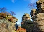 Brimham Rocks, near Pateley Bridge. Beautiful walks and rock climbing amongst dramatic moorland rock formations. There is something here for every season.