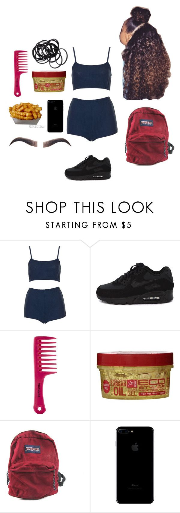 """not in stores xx"" by normatheartist ❤ liked on Polyvore featuring Topshop, NIKE, Sephora Collection, JanSport, Revlon and H&M"