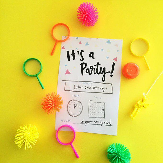 It's a party! {FREE birthday invitation printable} - Fat Mum Slim