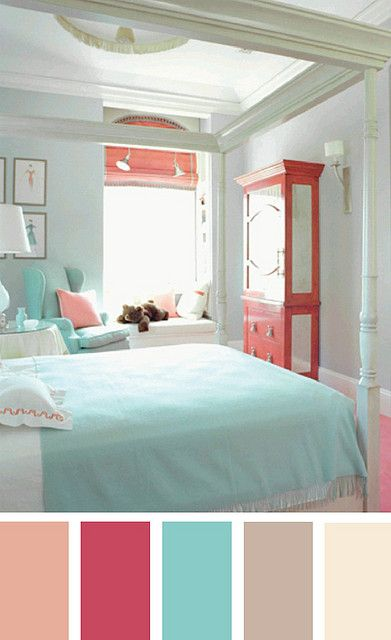 I Like The Soft Turq + Coral Color Combo For A Little Girls Room.