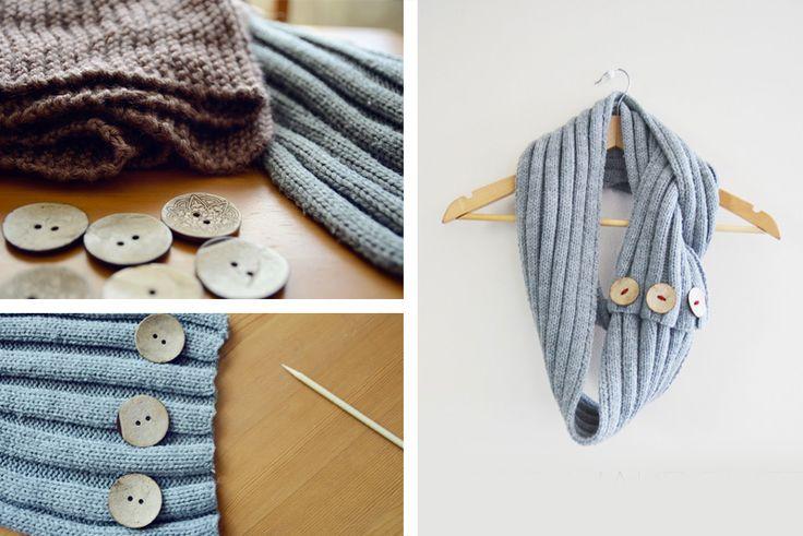 """Riutilizzare i maglioni di lana - Sciarpa modello """"ad anello"""" con bottoni"""