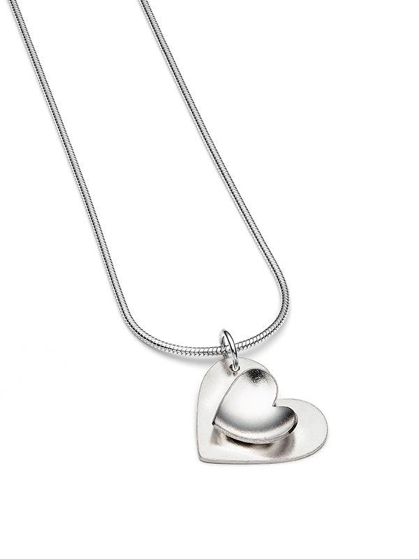 Junction Art Gallery - Tiny silver double heart pendant on snake chain £65.00 www.junctionartgallery.co.uk