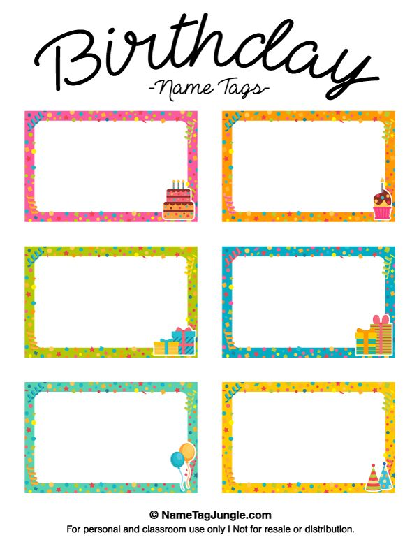 Free printable birthday name tags. The template can also be used for creating items like labels and place cards. Download the PDF at http://nametagjungle.com/name-tag/birthday/