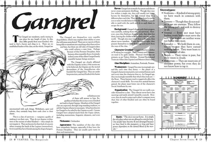 Gangrel 2nd Ed Template in 2020 Templates, Vampire