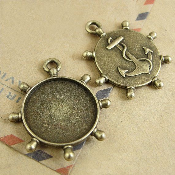 20Pcs Round Antique Color Zinc Alloy Cameo Cabochon Pendant Tray Blank Base 25MM