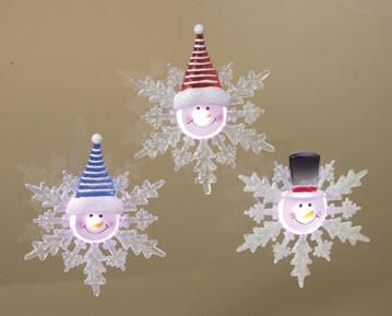NEW!  Assorted LED Snowman on Snowflake Window Suctions  Apply these cute LED lighted snowmen to the windows in your car, home or work to brighten up any space with sweet holiday cheer! Light changes colors in a steady rotation of color. On/off switch to save battery life. Suction cup on backside. (Item #23739) $2.95 each
