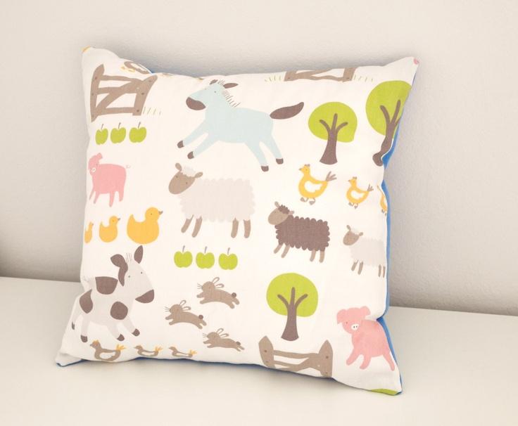 Farm Animal Cushion Children S Bedroom Decor Cute Fun Pillow White Cotton Farmyard Print