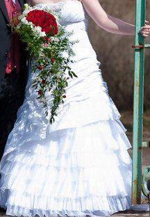 Sněhově bílé svatební šaty vel 42-46 - 1