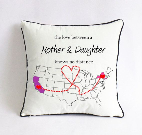 Christmas Gift Ideas For Long Distance Boyfriend Part - 16: Long Distance Mom Daughter Pillow Case-mom Birthday Gift-mothers Day Gift  From Daughter-mom Xmas Gift-mother Daughter Love Knows No Distance