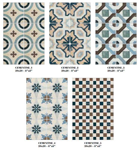 Imitation en grès cérame de carreaux ciment Cementine color - Terre de Bain