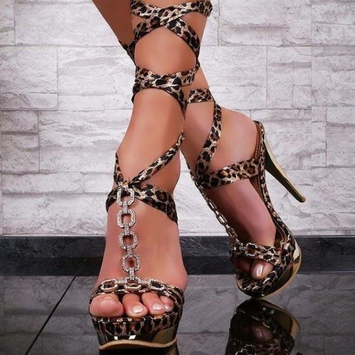 Sexy High Heels Platform Strappy Sandal In Leopard Gold