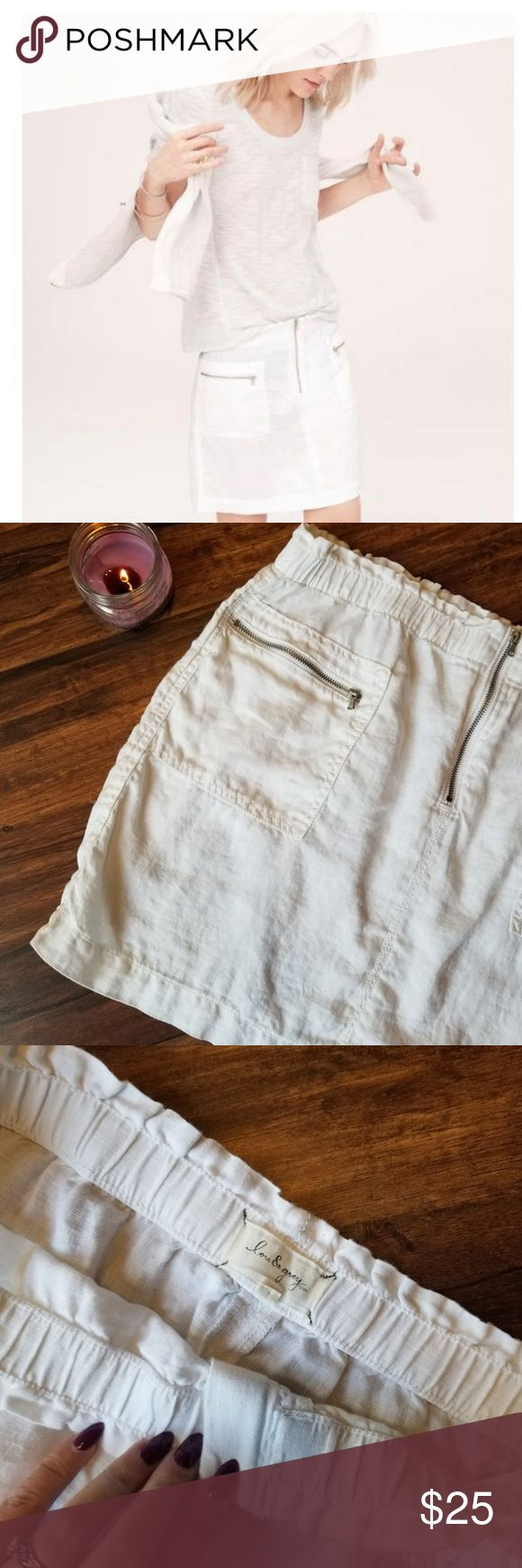 Lou & Grey White Linen Mini Skirt Linen Mini Skirt with silver zipper pockets. and a front silver zipper.  Condition: EUC  Retail: $79 Size: M  Length: 16 MAKE A REASONABLE OFFER OR ADD TO A BUNDLE FOR A PRIVATE OFFER!  #23 Lou & Grey White Linen Mini Skirt Lou & Grey Skirts Mini