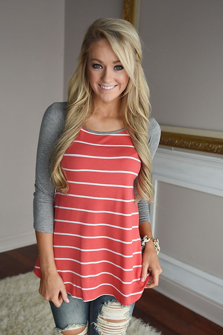 Pretty in Coral Striped Top – The Pulse Boutique