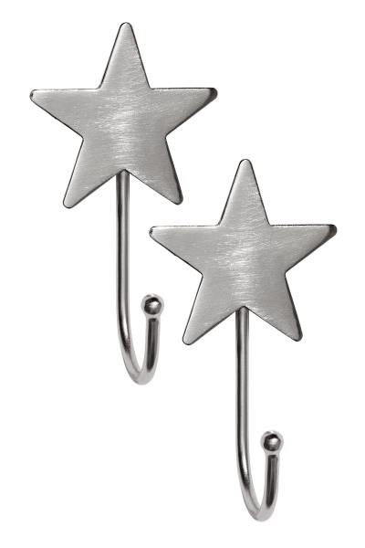 Metal hooks with a star at the top and concealed eyelet for hanging. Screws not included. Width 5.5 cm, length 9.5 cm.