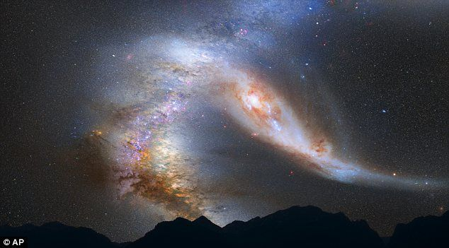 Colossal: This NASA illustration shows the Milky Way (left) and the Andromeda galaxy, which are expected to collide in four billion years from now: Milky Way Galaxies, Solar System, Andromeda Galaxies, Milkyway, Volcanoes, Earth, Billion Years, Night Sky, Science