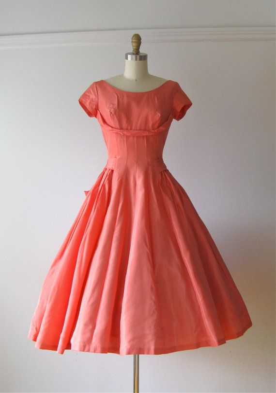vintage 1950s dress / 50s coral pink party dress by Dronning