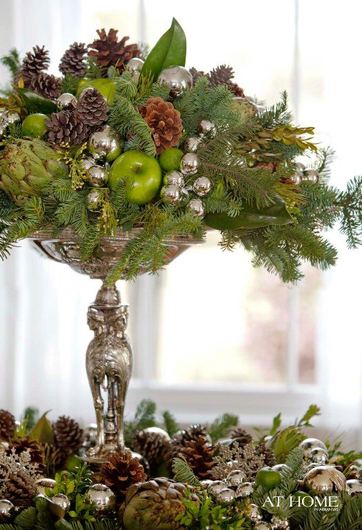 ~ elegant and natural ~: Mercury Glasses, Christmas Time, Christmas Decoration, Christmas Centerpieces, Tables Centerpieces, Holidays Centerpieces, Pine Cones, Apples, Dining Tables