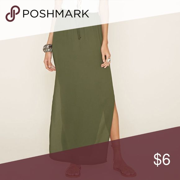 Forever 21 Maxi Skirt w/ Side Slits- Olive- S- NWT Forever 21 Long Olive Maxi Skirt with 2 side slits and elastic waist  NEW WITH TAGS  Size: Small Color: Olive Green Material: Polyster Care: Hand Wash Forever 21 Skirts Maxi