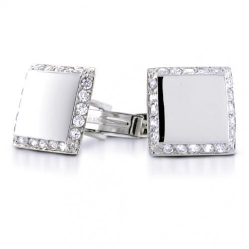 Modern Mens Sterling Silver CZ Square Cufflinks