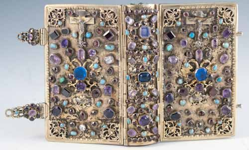 La Journée du Chrétien, Sanctifiée par la Prière et la Meditation by   Lyon and Paris: Librairie Catholique de Perisse Frères, 1844.  Small octavo. viii, 524, (v) pp. A seventeenth century silver gilt, jewelled binding covering a French prayer book, which was placed into the binding at a later date. Very fine in a mod...  more   Offered By  Bromer Booksellers