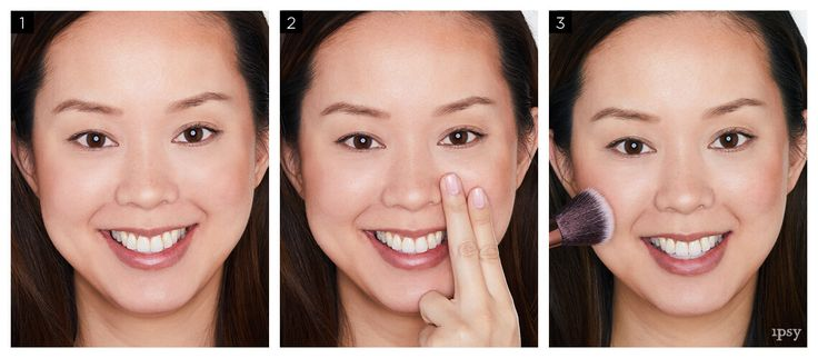 Exactly where to apply blush:  1. Smile. (Think of bae. Or puppies. Or pizza.)  2. Hold two fingers vertically next to your nose; that marks your starting point.  3. Apply from that point upwards, moving towards your temples, in circular motions.