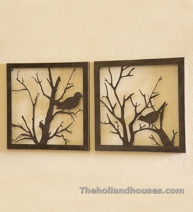 Contemporary Framed Birds And Flowers Metal Wall Art