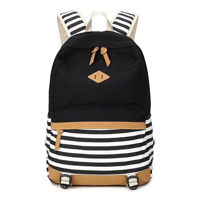 Amazon.com: Abshoo Lightweight Canvas Backpacks for Girls School Rucksack Bookbags (Black ): Clothing