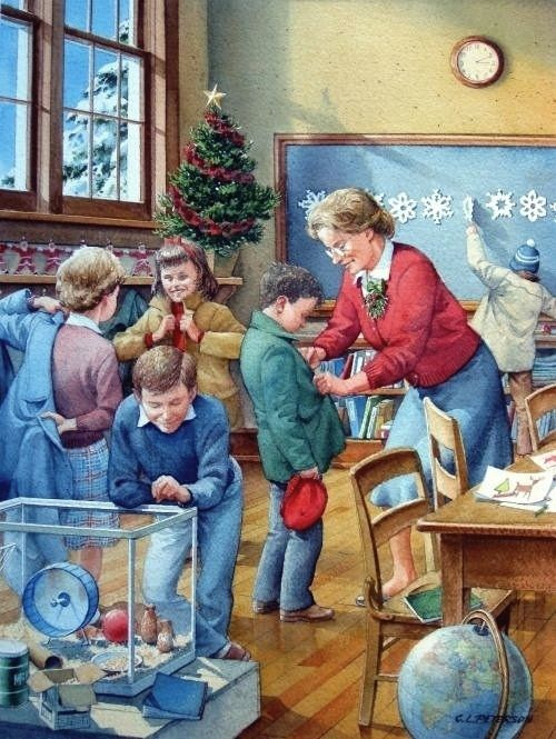 School Days at Christmastime - our classrooms were decorated for Christmas in my elementary school years in the late 50s. We were so excited on the last day of school before Christmas vacation!
