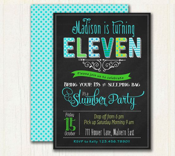 68 best birthday invitations images on pinterest invite lyrics slumber birthday chalkboard invitation by tracyannprintables stopboris Image collections