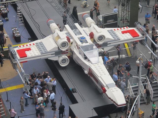 Lego Times Square by AndrewDallos, via Flickr   World's largest LEGO model, a 1:1 replica of the LEGO Star Wars X-wing Starfighter that took 32 model builders, 5.3 million LEGO bricks, and over 17,000 hours to complete.