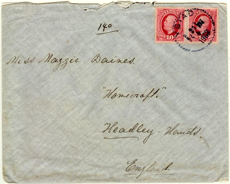 Till England 10+10 öre Oscar Ystad Lbr 1908