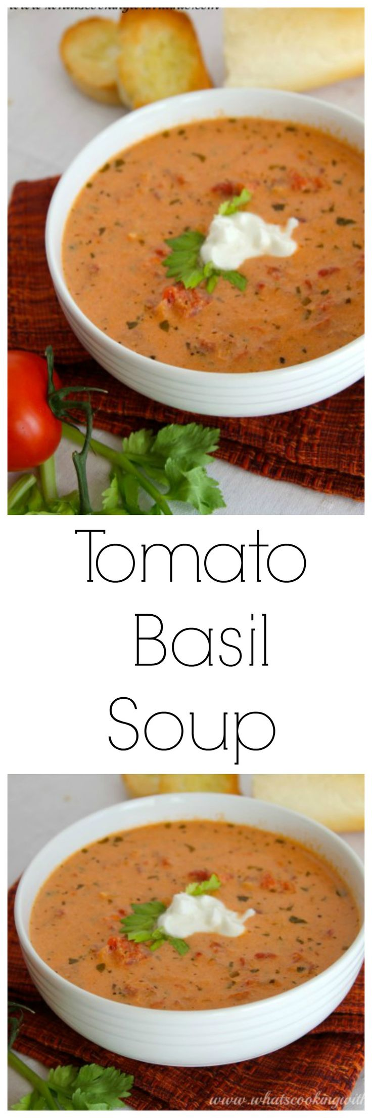 Tomato Basil Soup on www.cookingwithruthie.com is simple to make and a perfect weeknight meal!