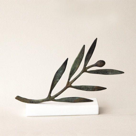 Bronze Sculpture Olive branch Metal Art Sculpture by GreekMythos