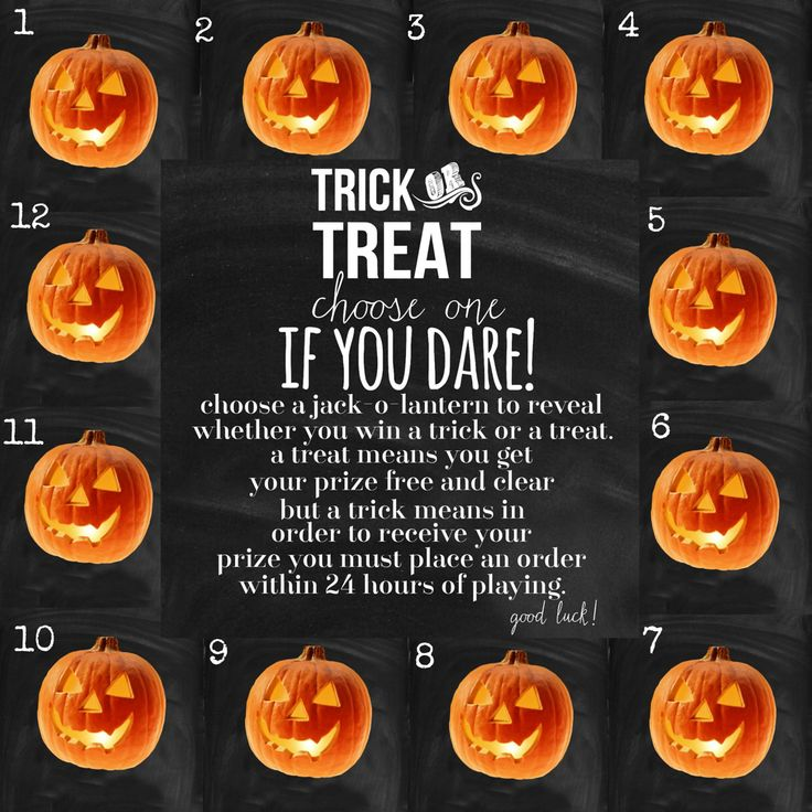 Message me your number and I'll tell you your results. Prize numbers have already been predetermined. Good Luck! Jamberry Nail Wraps Halloween Trick or Treat Game