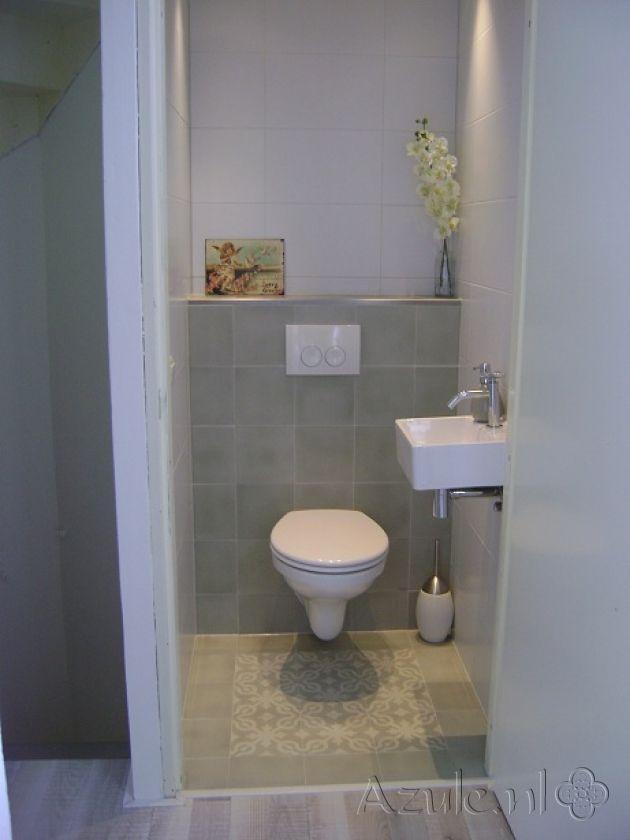 Cementtiles Toilet - Azule 09 - Project van Designtegels.nl