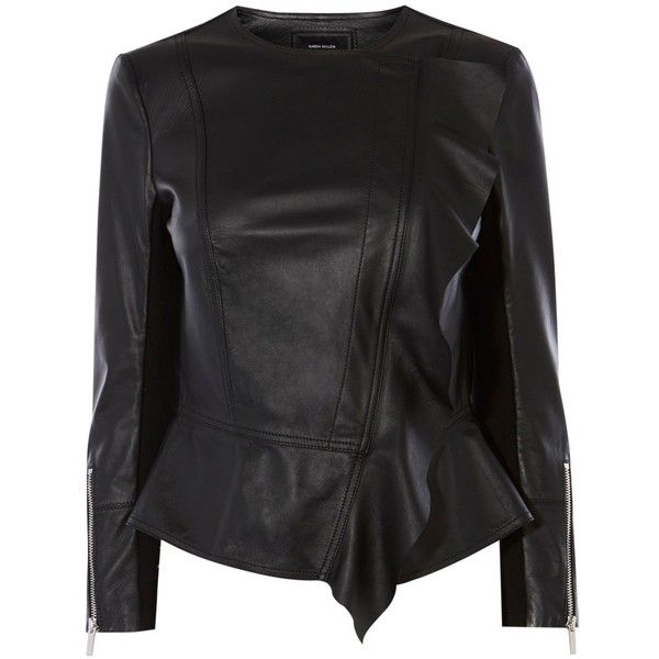 Karen Millen Leather Drape Front Jacket, Black ($435) ❤ liked on Polyvore featuring outerwear, jackets, drape front jacket, leather jackets, moto jacket, motorcycle jacket and long sleeve jacket