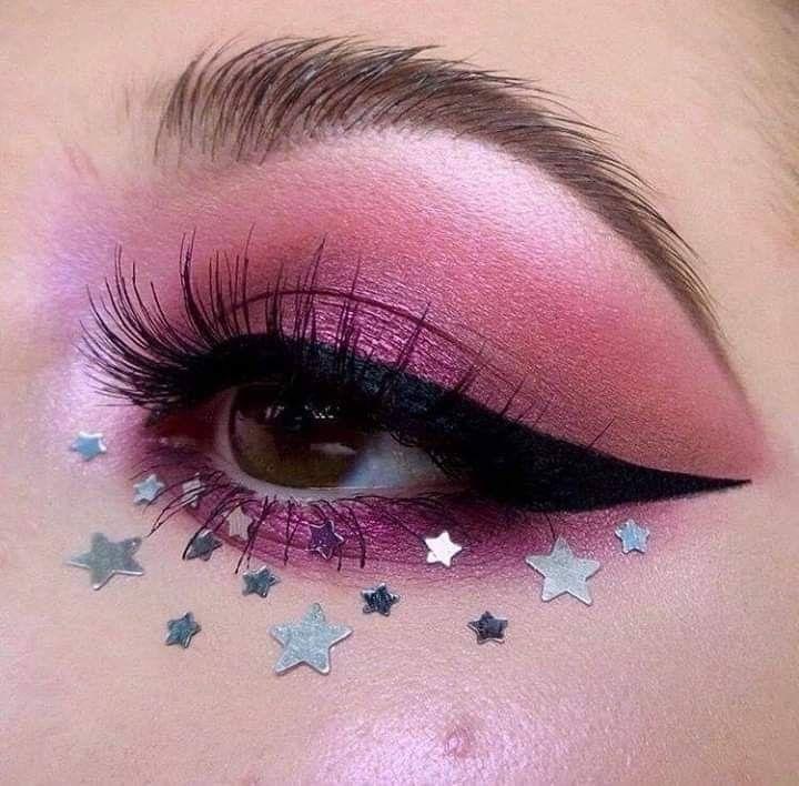 Makeup Aesthetic Beauty Eyeliner Tumblr Glitter Stars Https