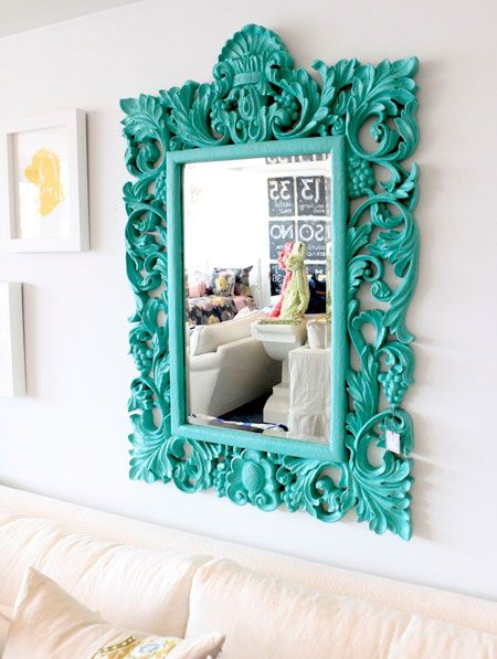 Turquoise Room Ideas: An ornate mirror has a modern edge when painted in bright turquoise. This would make a great DIY project.
