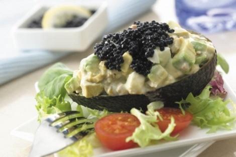 avocado boats with kelp caviar