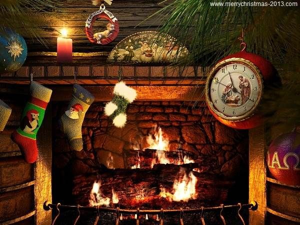 Free Fireplace Wallpaper: Free Christmas Wallpapers And Screensavers Of Fireplace