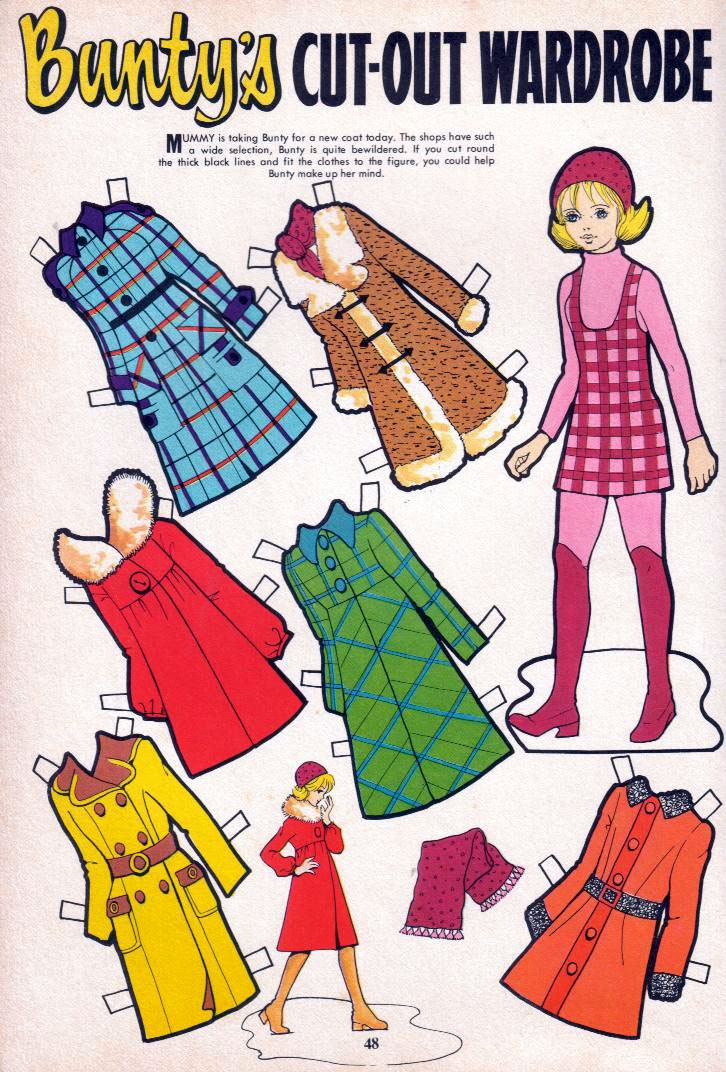 Bunty chooses a winter coat.  Always looked at the back of Bunty first for the paper doll
