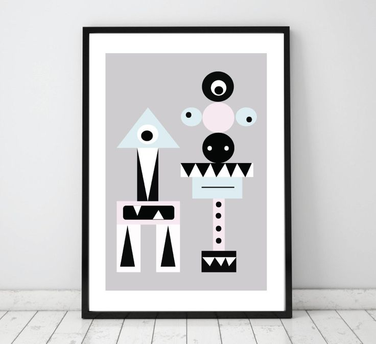 Kids print, nursery poster, Nursery wall art, Nursery wall decor, kids wallart, Monsters, Modern graphic design, Scandinavian design, baby by Eveandelliot on Etsy