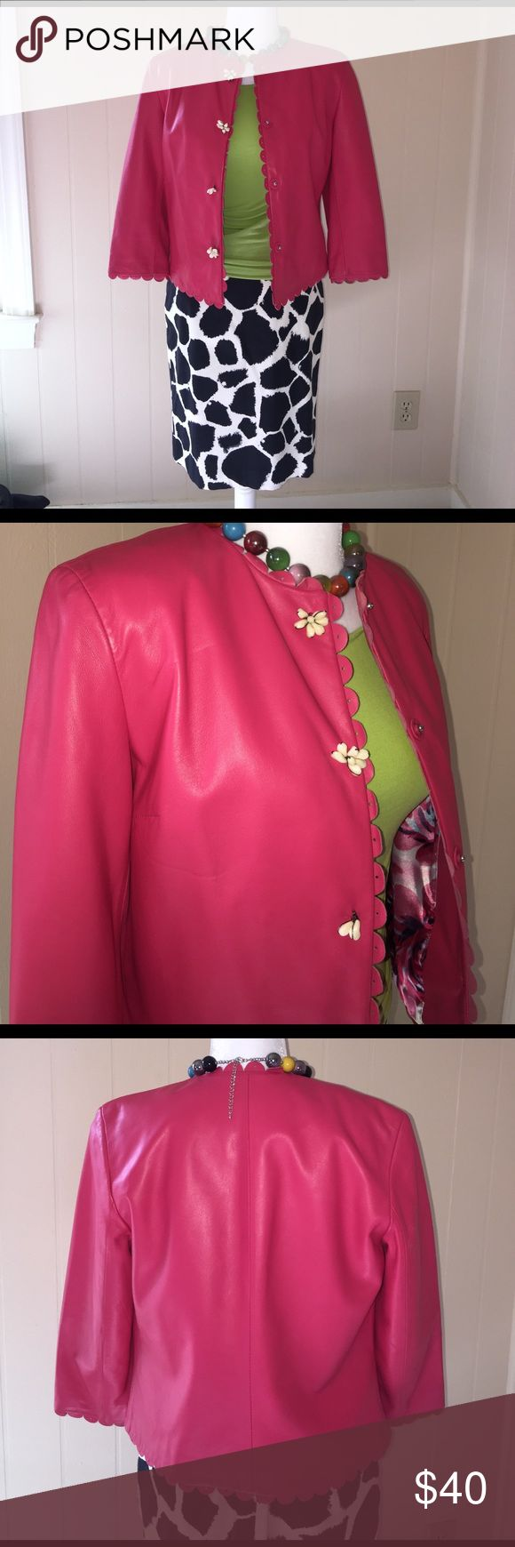 Rosy Pink Leather Jacket with Scalloped Trim Cutest leather jacket of all time! The edges are trimmed with punched scalloped pink leather. It is lined in floral satin. The front snaps are covered by shell buttons. The third one down has fewer beads than the other, but it really does not detract. Otherwise excellent condition. Measurements: under arm to under arm 18 inches, length 21 inches. Siena Studio Jackets & Coats