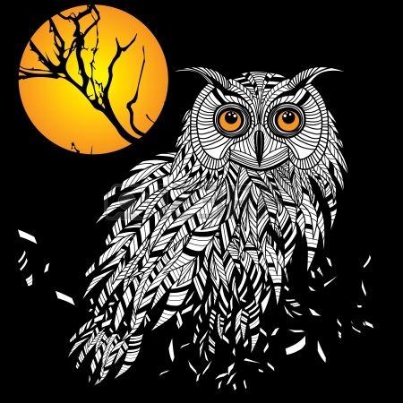 Сова головы птицы как символ Хэллоуина талисман или эмблема дизайн, логотип векторная иллюстрация для футболки. Эскиз татуировки. photo