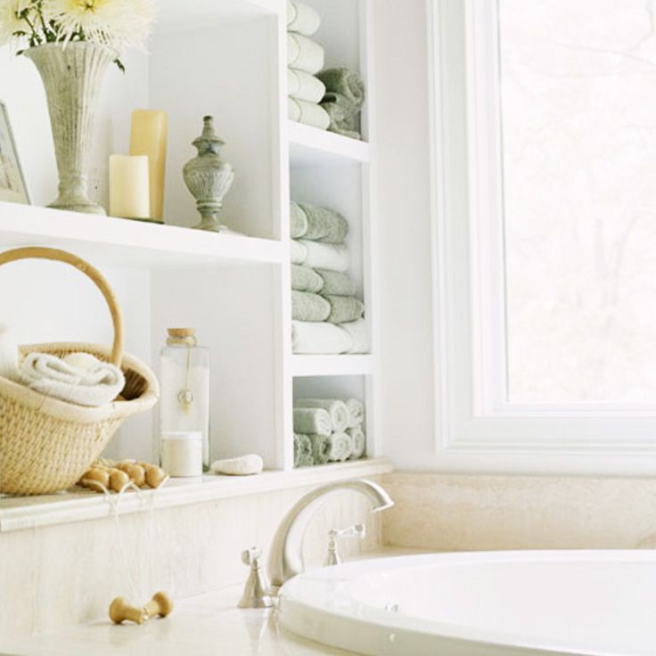 Take a moment for yourself. Fill the bath with bubbles and relax.: Built In, Bathroom Storage, Decorating Ideas, Shelves, Bathroom Remodel, Bathroom Ideas, Master Bath