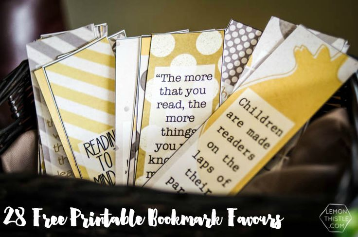 28 Free Printable Bookmarks with quotes about reading- perfect shower favor or classroom / book club gift!