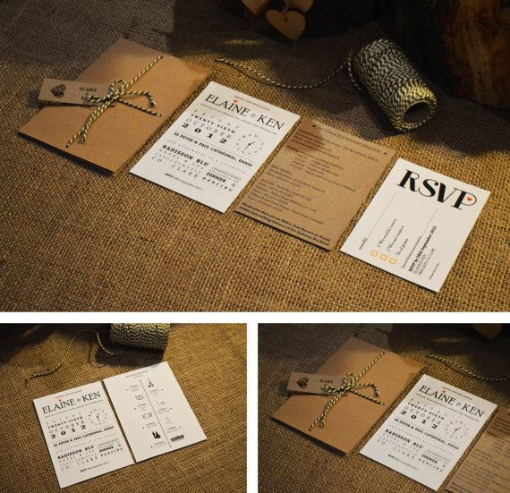 10 x Kraft Wedding Invitation / Rustic Wedding Invitation Suite with bakers twine - 'Rustic Romance'