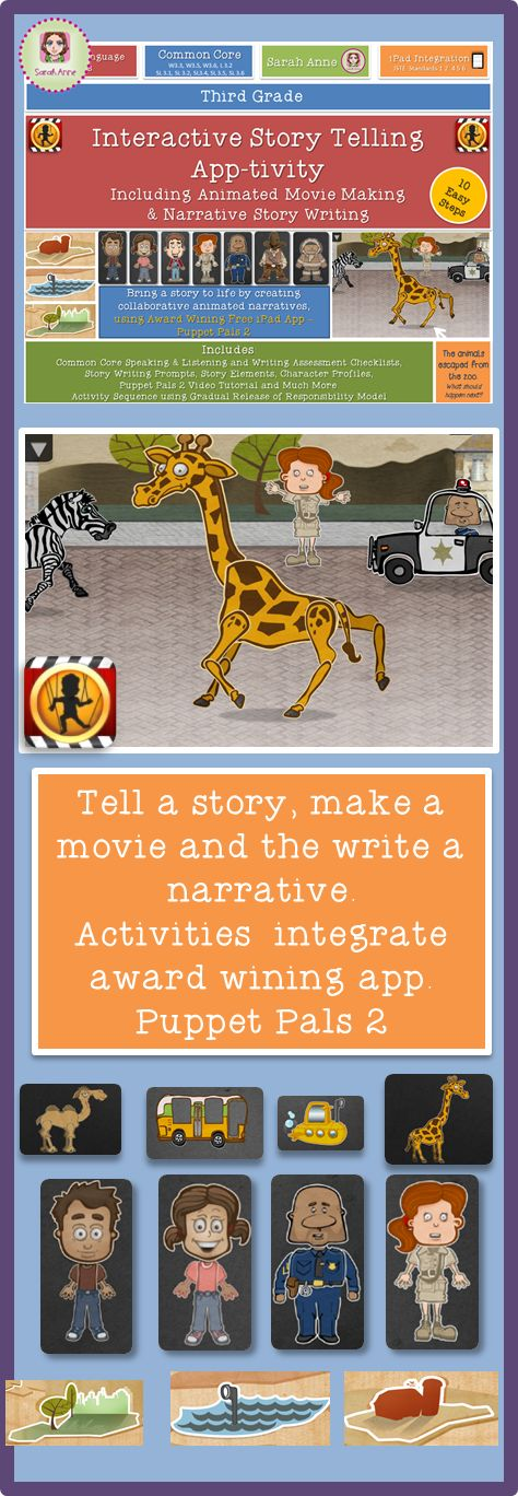 Interactive Story Telling App-tivity (includes story writing and movie making) Students bring their story ideas to life by creating animated movies in a collaborative setting using the award winning app Puppet Pals 2 {Free & Paid app available}. Their wonderful animations then inspire creative narrative writing. Activities are aligned to the Common Core and ISTE Standards. #ipad #edtech #technology #creative story writing #narrative writing #technology integration #apps #ISTE #commoncore