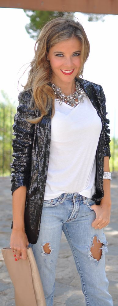 Love the mix of the super classy, dressy jacket with the destroyed jeans.