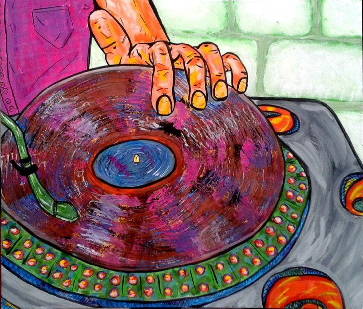диджей, рисунок, иллюстрация, музыка, by atatay